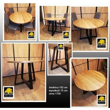 Stół loftowy dębowy 102 cm GOTOWY DO ODBIORU !!!!