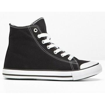 Sneakersy trampki Bonprix 37 czarne wygodne!!