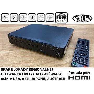 Odtwarzacz DVD typu region free multiregion z HDMI