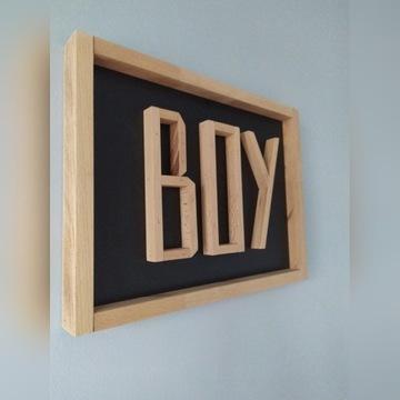 Tabliczka z napisem drewniana ramka litery 3d BOY