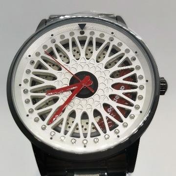 Męski zegarek retro felga 3D biały