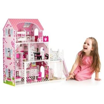 Drewniany domek dla lalek z windą xxl zjeżdżalnia