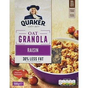 Quaker Granola Płatki Owsiane Rodzynki 500g UK