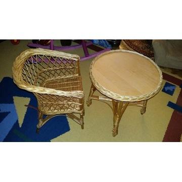 Komplet stolik wiklinowy+krzesełko