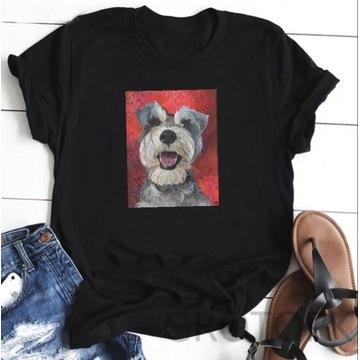 Koszulka t-shirt pies sznaucer lato S-XXL bluzka