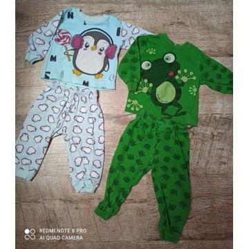 Zestaw 2 x piżama piżamka żabka pingwin 80 9-12m