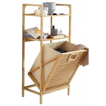 Szafka łazienkowa z koszem na pranie, regał bambus