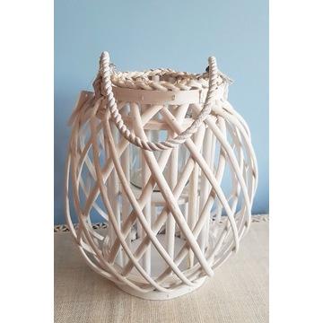 Lampion biały wiklinowy duży latarenka na taras