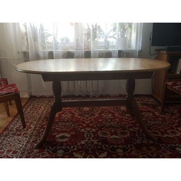 Stół owalny dębowy  plus 6 krzeseł