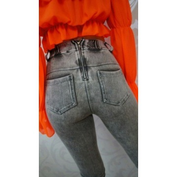 Legginsy jeans elastyczne zamek na pupie rozm.S