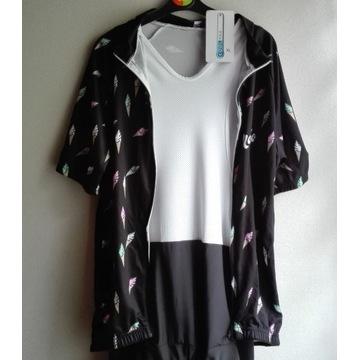Spodenki kolarskie z wkładką + bluzka r.XL