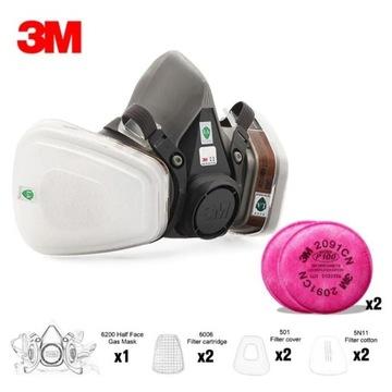 Maska lakiernicza 3M 6200 rozmiar M+ filtry 11elem