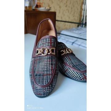 Buty męskie super eleganckie mokasyny wsuwane