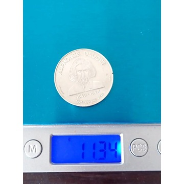 Posrebrzany numizmat. Francja. Rok 1998