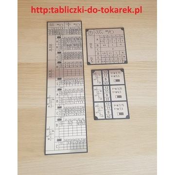 Tokarka TUM-35 E1  Tabliczka Tabliczki Tabela Gwin