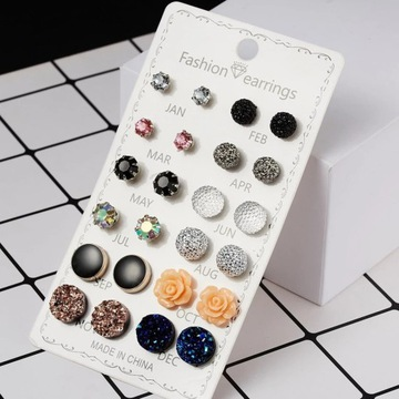 Zestaw 12 par kolczyków kolorowe modne kamienie