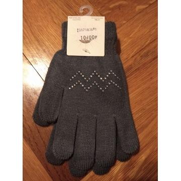 Śliczne damskie rękawiczki z cekinami 18 cm