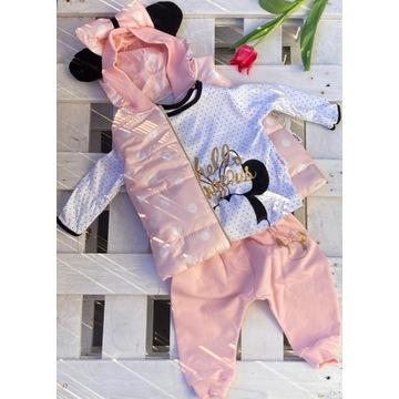 Różowy komplet z kamizelką dla dziewczynki