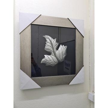 Obraz nowoczesny liść szary rama perłowa wyprzedaż