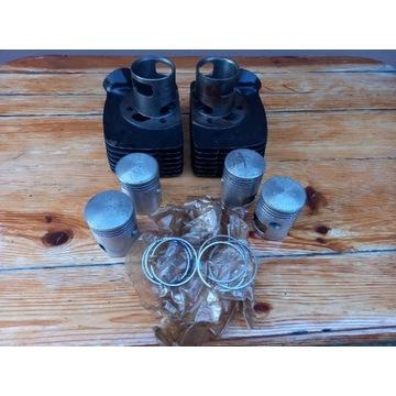 Jawa 350 cylindry 4 tłoki z pierścieniami z epoki
