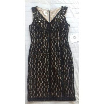 ANNE KLEIN nowa czarna koronkowa sukienka r.8 USA