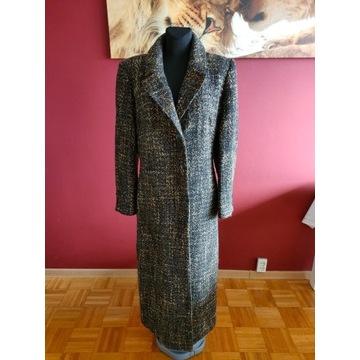 Długi brązowy ciepły płaszcz Chwirot / L