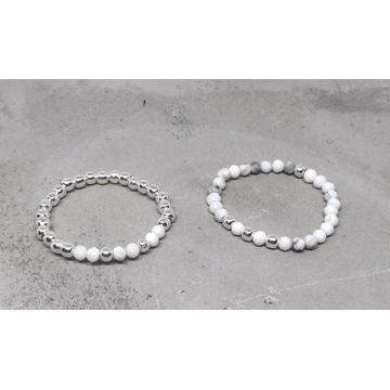 Komplet delikatnych pierścionków srebro howlit