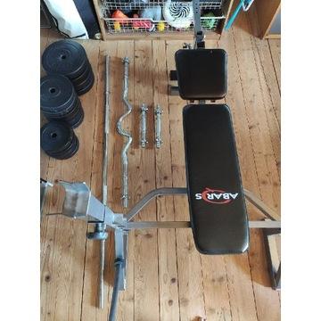 Zestaw:Ławka, sztangi, sztangielki obciążenie 80kg