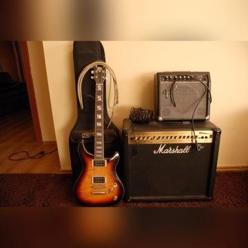 Gitara Cort+Marshall+Fender+Futerał+Kabel