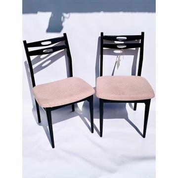 Para krzeseł czarno różowe, vintage retro prl loft