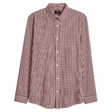 NOWA 38 M H&M koszula męska kratka bordowa biała