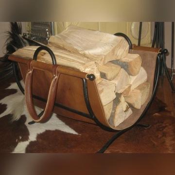 Kosz/stojak na drewno z nosidełkiem
