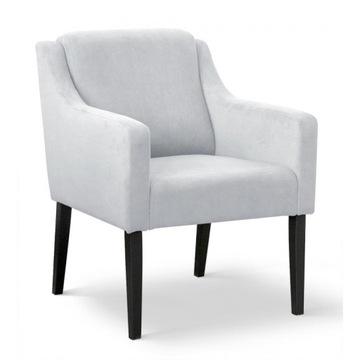 Fotel Ferrara Velvet srebrny / nogi dąb lakier
