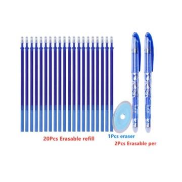 Długopisy zmazywalne 20 wkładów 2 długopisy+ gumka