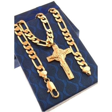 Złoty Łańcuszek Figaro z Krzyżem 18 karatów Stal