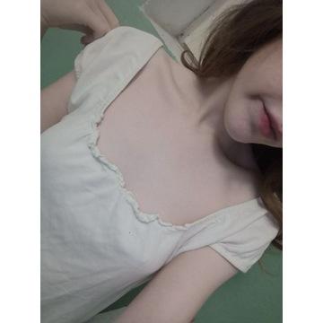 biała bluzka używana noszona fetysz