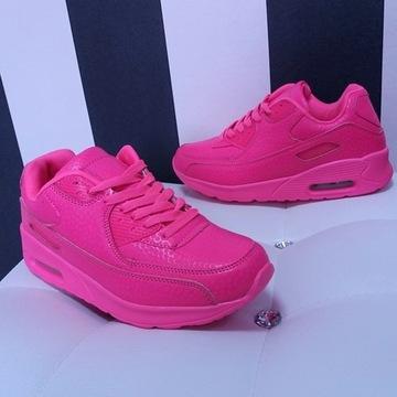 Sneakersy trampki adidasy NEON Pink Róż Air 39