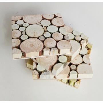 Podkładka pod kubek, ZESTAW 4 szt. Plastry drewna