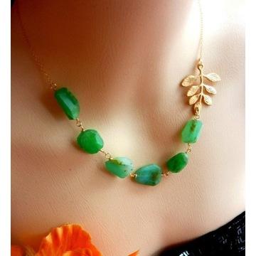 Naszyjnik zielone opale pozłacany 14k na prezent