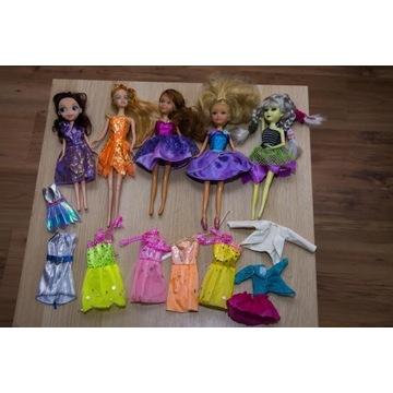 Lalki 5 szt + sukienki do przebrania