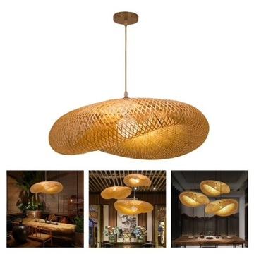 Żyrandol klosz lampa bambusowa
