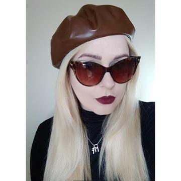 Beret damski brązowy z ekoskóry czapka