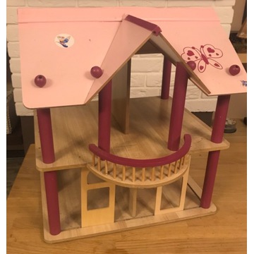 Duży drewniany domek dla lalek + mebelki