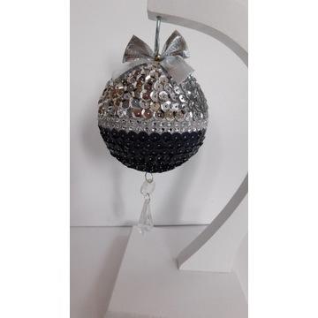 Bombka srebrno-czarna cekiny kryształki 20cm