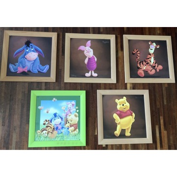Obrazki na ścianę Kubuś Puchatek i przyjaciele