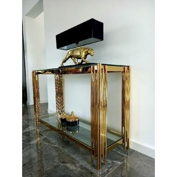 Złota konsola glamour nowoczesna komoda lustro