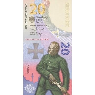 Banknot 20 zł Bitwa Warszawska 1920 NISKI NR. 1964