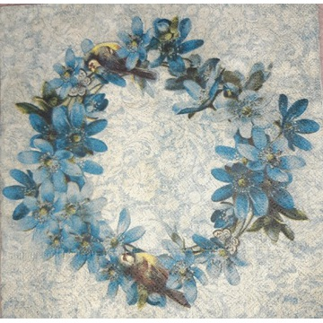 Serwetka decoupage 2 szt, wianek, kwiaty, retro
