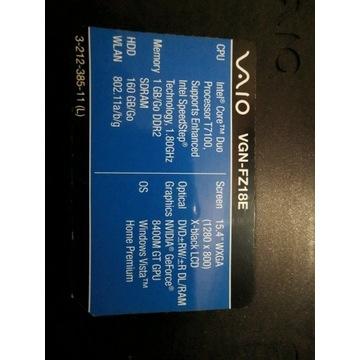 Laptop Sony Vaio PCG-382M 1.8GHz/100GB/3GB/GeForce