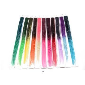 Sztuczne włosy, kolorowe pasemka, 50 CM 5szt.